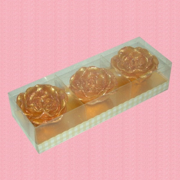 Set Trei Lumanari Trandafiri Sclipici Auriu