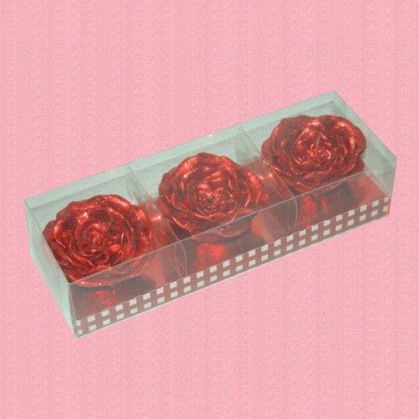 Set Trei Lumanari Trandafiri Sclipici Rosu
